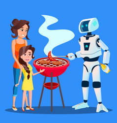 robot preparing a barbecue for family vector image