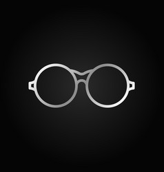 round eyeglasses silver icon glasses vector image