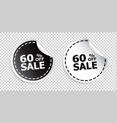 sale sticker sale up to 60 percents black and vector image