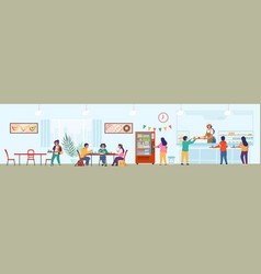 school canteen with staff and children having vector image