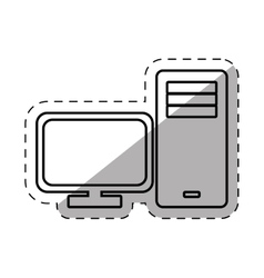 Screen tower computer equipment thin line vector