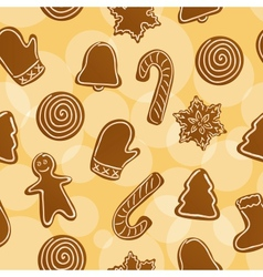 Seamless Christmas gingerbread background vector image