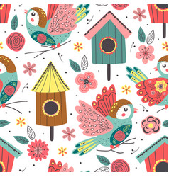 seamless pattern with birds and birdhouses vector image