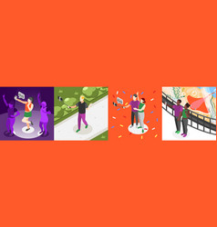 selfie day isometric composition set vector image