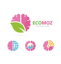 Set of brain logo combination education and eco vector