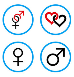 Sex symbols rounded icons vector