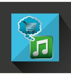 Shiny shopping cart music online commerce vector