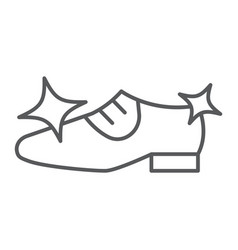 Shoe cleaning thin line icon clean and shoes vector