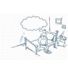 sketch man waking up sit on bed in morning doodle vector image