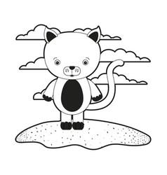 Sketch silhouette monochrome scene cute cat animal vector