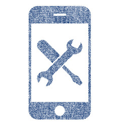 smartphone tools fabric textured icon vector image