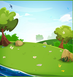 Spring landscape background with river vector