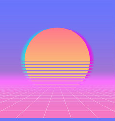Sun neon retro 80s background neon sunset vector