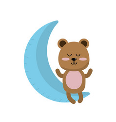 teddy bear seated in the moon vector image