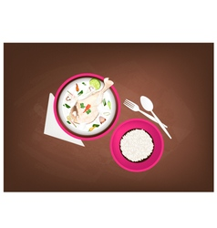 Tom Kha Gai or Thai Chicken Cream Soup vector image