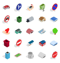 town buildings icons set isometric style vector image
