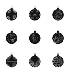 toys for a christmas tree black icons in set vector image