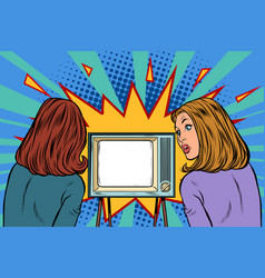 two girlfriends watching tv vector image