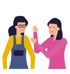 two women characters portrait on white background vector image