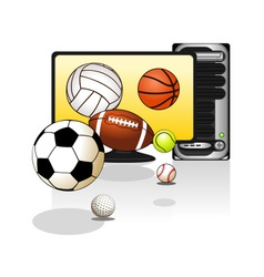 Various sports balls with computer vector image