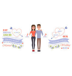 Wedding day celebrate with us vector