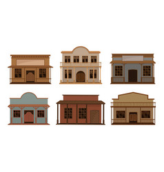 Western wooden saloon bars and buildings vector