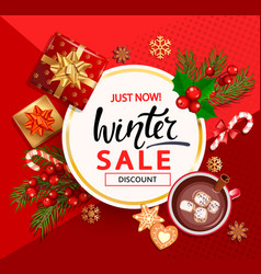 winter sale card for new year holidays vector image