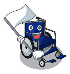 With flag miniature wheelchair the shape of mascot vector