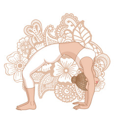 women silhouette upward bow wheel yoga pose vector image