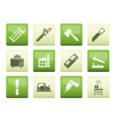 woodworking industry and woodworking tools icons o vector image
