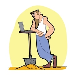 Worker shovel laptop vector