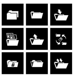 black folder icon set vector image vector image