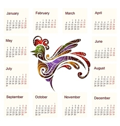 Calendar for 2017 with Rooster vector image