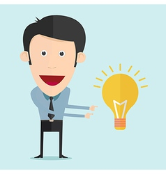 cartoon with bulb idea vector image vector image