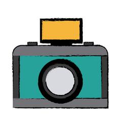 Drawing photo camera flash lens button vector