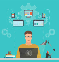 man software engineer programmer with laptop vector image