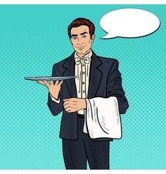 Pop Art Professional Waiter Man Holding Empty Tray vector image