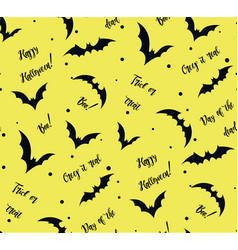 seamless pattern of bat on yellow black vector image vector image
