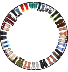 shoes circle frame vector image vector image