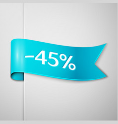cyan ribbon with text forty five percent discount vector image