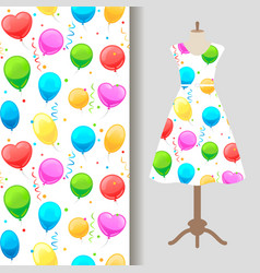dress fabric pattern with party baloons vector image vector image