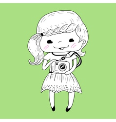 Little girl with camera vector