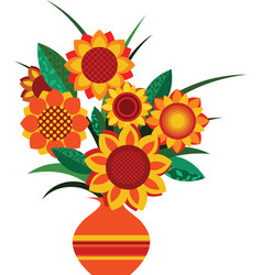 retro colourful vase with sunflowers vector image vector image