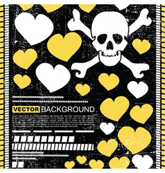skull with hearts vector image vector image