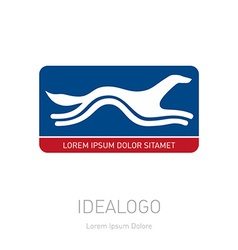 Stylized running dog logotype or design element in vector image