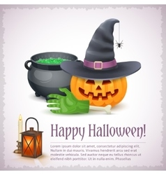 Happy Halloween card with pumpkin hat and cauldron vector image vector image