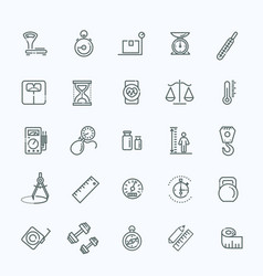 measuring related web icon set - outline icon set vector image