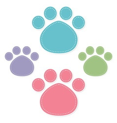 paw prints color on white background vector image