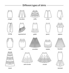 set of different types of skirts vector image