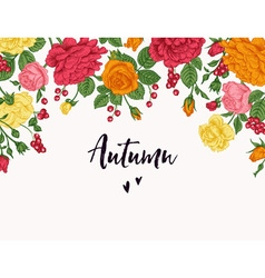 Vintage card with a garden of roses and berries in vector image
